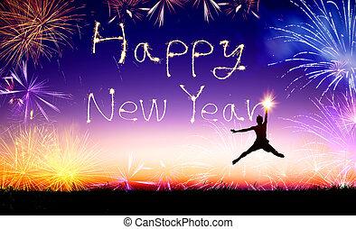איש צעיר, לקפוץ, ו, ציור, ה, ראש שנה שמח