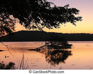 אי, ס.ר.י., אגם, (ceylon), שקיעה, לאנקה