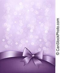אלגנטי, חופשה, רקע, עם, קשת של מתנה, ו, ribbon., וקטור