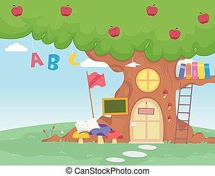 אלפבית, בית ספר, עץ, תפוח עץ