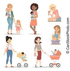אמא, וקטור, illustration., צעיר