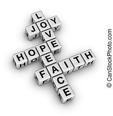 אמונה, שלום, אהוב, שימחה, קוה