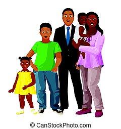 אמריקאי של אפריקה, משפחה, שלושה, הורים, ילדים, שמח