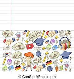 אנגלית, דיאלוג, סיני, אונליין, שלום, וקטור, german., courses., שפה, ספרדי, איטלקי, עננים, תבנית, ערבי, יפאנים, סוג