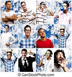 אנשים, ב, קיץ, מעל, שמיים כחולים, אוסף