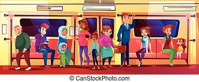 אנשים, דוגמה, וקטור, רכבת תחתית, עניין סוציאלי