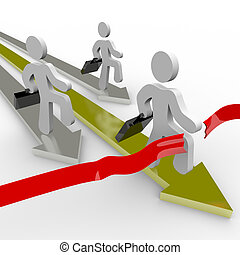 אנשים של עסק, רוץ, לעבר, קו סיום