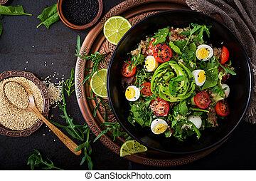אראגאלה, אבוקדו, סלט, תרד, lay., menu., ירקות, עגבניות, -, חלק עליון שטוח, קינוה, bowl., ביצה, טרי, הבט., דיאטה, בריא
