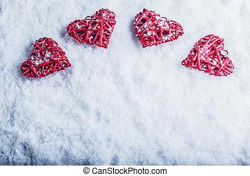 ארבעה, יפה, רומנטי, בציר, לבבות, ב, a, לבן, כפור, השלג, רקע., אהוב, ו, רחוב., יום של ולנטיינים, concept.