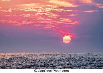 ארהב, מפרץ, מקסיקו, מעל, פלורידה, כלאירוואטאר, שקיעה