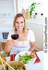 ארוחת ערב בריאה, אישה, אטרקטיבי, בעל