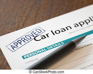 אשר, הלוואה של מכונית, בקשה