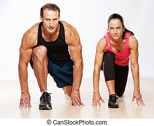 אתלטי, איש ואישה, לעשות, תרגיל של כושר הגופני