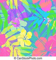 בהיר, צבעים, מואר, פרחים טרופיים, וקטור, seamless, תבנית