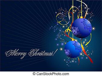 בהק, כחול, כדורים, -, שנה, חדש, כרטיס של חג ההמולד