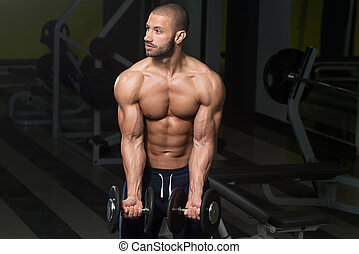 בונה גוף, להתאמן, בייספס, עם, דאמבאלס
