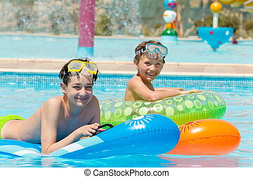 בחורים, צעיר, צרף, לשחות