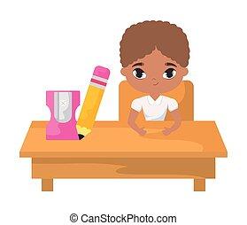 בחור, בית ספר, לשבת, סטודנט, שולחן, הספקות, חינוך, של אפריקה