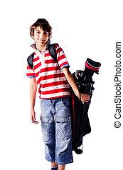 בחור, גולף, צעיר, שקית, הפרד