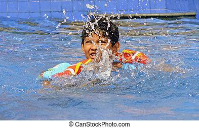 בחור, התאמן, אסייתי, לשחות