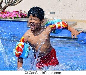 בחור, התאמן, הודי, לשחות