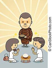 בחור, ילדה, להתפלל, נזיר