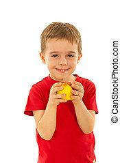 בחור, לאכול תפוח עץ, שמח