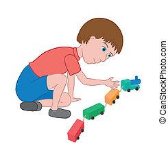 בחור, לשחק, עם, a, צעצוע מאלף