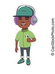 בחור, מוסיקה מקשיבה, headphones., אפריקני