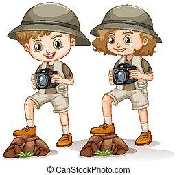 בחור, מצלמה, תלבושת, לעמוד, נדנד, סאפארי, ילדה