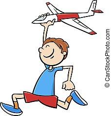 בחור, עם, שחק מטוס, ציור היתולי