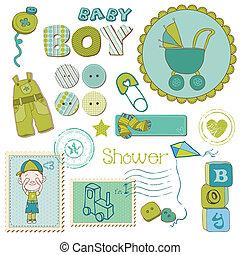 בחור, קבע, -, התקלח, יסודות, עצב, תינוק, ספר הדבקות