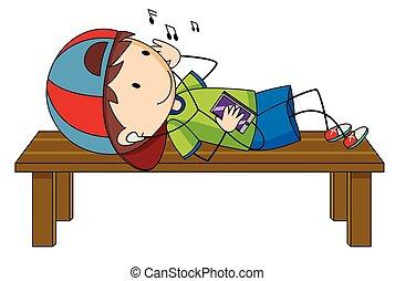 בחור, קטן, מוסיקה מקשיבה