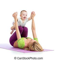 בחור של תינוק, התעמלות, אמא