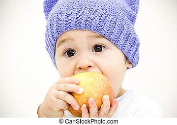 בחור של תינוק, לשבת בשולחן, עם, פירות וירקות, ו, לאכול תפוח עץ, הפרד, בלבן, רקע