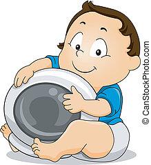בחור, תינוק, אסטרונאוט, להחזיק, קסדה