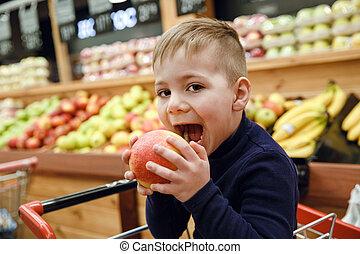 בחור, תפוח עץ, צעיר, לנשוך, תמוך השקפה