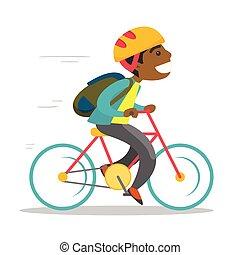בחור, bicycle., צעיר, רכוב, אמריקאי אפריקני
