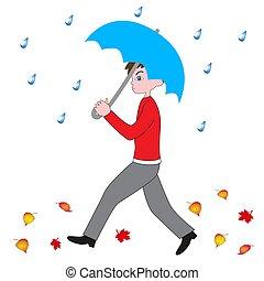 בחור, umbrella., ללכת, גשם