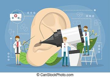 בחינה, doctore, concept., עשה, רפואי, אוזן, רעיון, טיפול