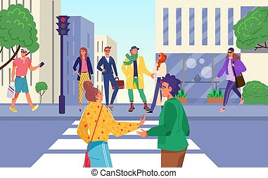 בטיחות, העצר, אות של מעבר החציה, illustration., מידרכה, הזהר, וקטור, אנשים, תנועה, עירוני, חכה, רחוב, אור, דרך, אדום