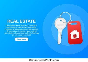 בית, מושג, advertising., key., דפוסית, מכירות, רכוש, חתום, פיכטוגראם, שכירה, illustration., וקטור, אמיתי