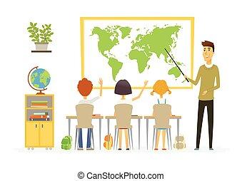 בית ספר, אנשים, מודרני, -, דוגמה, אותיות, שיעור, ציור היתולי, גיאוגראפיה