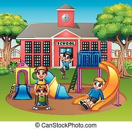 בית ספר, הורה, ילדים, מגרש משחקים