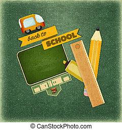 בית ספר, השקע, כרטיס, ראטרו