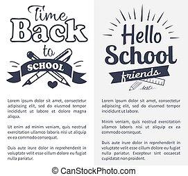 בית ספר, טקסט, מדבקה, השקע, זמן, לבן