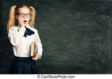 בית ספר, לוח, מעל, גיר, רקע, שחור, עלה, ילד, הפלא, ילדה, צחק, הפלא, משקפיים