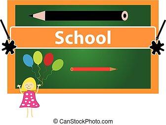 בית ספר, עפרון צבע, כתוב, כנה