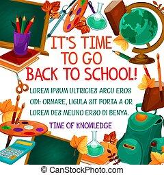 בית ספר, פוסטר, השקע, וקטור, זמן, חינוך