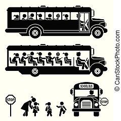 בית ספר, פיכטוגראם, set., children., bus., לך, ילדים, איקון